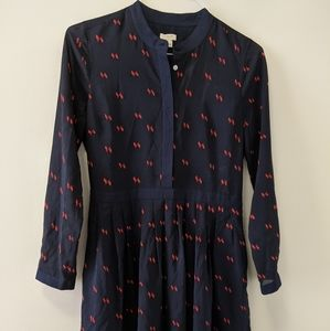 Navy, long sleeve patterned dress